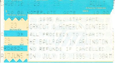 1995 MLB All-Star Game Home Run Derby and Workout Day ticket stub (Frank Thomas)