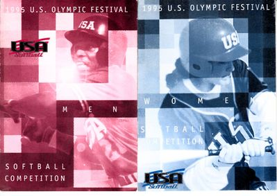1995 U.S. Olympic Festival softball set of 2 pocket rosters (Lisa Fernandez Dot Richardson)