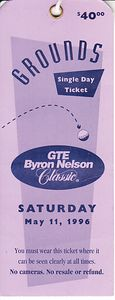 1996 GTE Byron Nelson Classic PGA Tour Saturday ticket (Phil Mickelson PGA Tour Win #8)