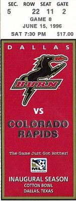 1996 MLS Dallas Burn inaugural season home game ticket stub
