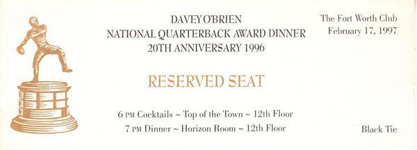 1996 Davey O'Brien National Quarterback Award Dinner ticket (Danny Wuerffel winner)