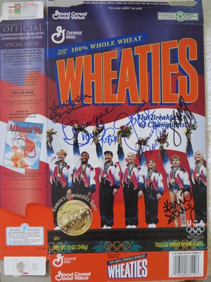 1996 US Olympic Gymnastics Gold Medal Team (Magnificent 7) autographed Wheaties box (Shannon Miller Dominique Moceanu Kerri Strug)
