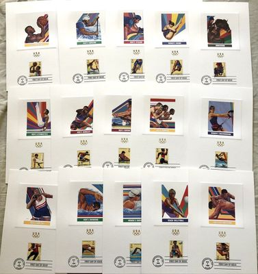 1996 U.S. Olympic Team partial set of 15 USPS 6x9 proof cards with First Day cancellations