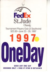 1997 FedEx St. Jude Classic PGA Tour ticket (Greg Norman wins)