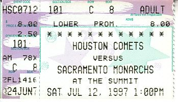 1997 Houston Comets vs. Sacramento Monarchs WNBA ticket stub (Cynthia Cooper)