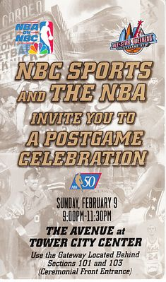 1997 NBA All-Star Game (50 Greatest Players) Postgame Celebration ticket stub