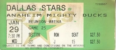 1997 Dallas Stars vs. Anaheim Mighty Ducks ticket stub (Mike Modano Joe Nieuwendyk)