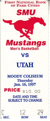 1997 Utah Utes at SMU college basketball ticket stub (Keith Van Horn)