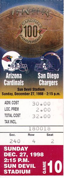 1998 Arizona Cardinals vs. San Diego Chargers ticket stub