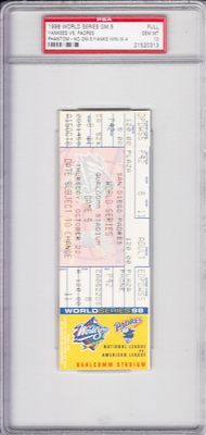 1998 New York Yankees vs Padres World Series Game 5 phantom ticket PSA graded 10 GEM MINT