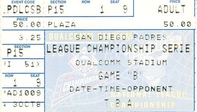 1998 NLCS Game 4 ticket stub (Atlanta Braves 8, San Diego Padres 3)