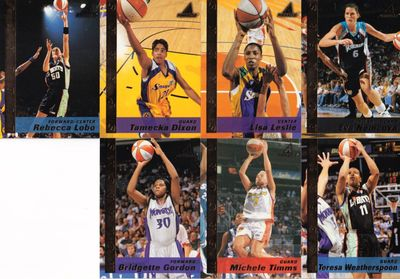 1998 Pinnacle WNBA lot of 7 cards (Tamecka Dixon Lisa Leslie Rebecca Lobo Michele Timms Teresa Weatherspoon)