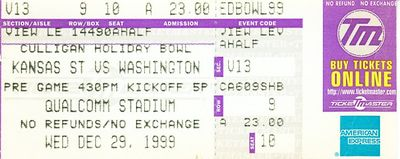 1999 Holiday Bowl game ticket stub (Kansas State 24 Washington 20)