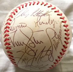 1999 New York Yankees World Series Champions team autographed AL baseball Roger Clemens Derek Jeter Tino Martinez Paul O'Neill Andy Pettitte Jorge Posada Joe Torre
