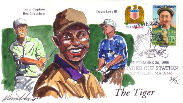 1999 Ryder Cup golf hand painted Wild Horse cachet envelope #30/75 (Tiger Woods)