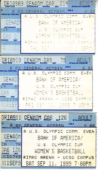 1999 US Olympic Cup women's basketball tickets (Team USA wins)