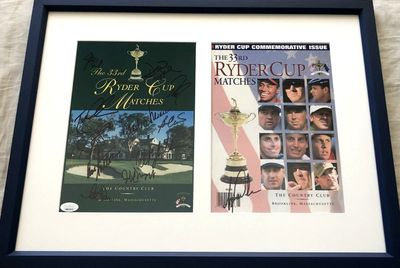 1999 US Ryder Cup Team autographed program covers matted and framed JSA (Tiger Woods)