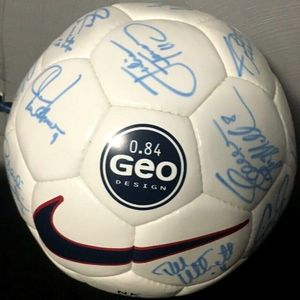 1999 U.S. Women's World Cup complete team autographed Nike Geo soccer ball Mia Hamm Brandi Chastain (Total Sports Concepts)