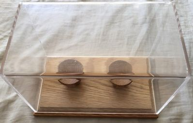 2 baseball display case holder with wood base (used)