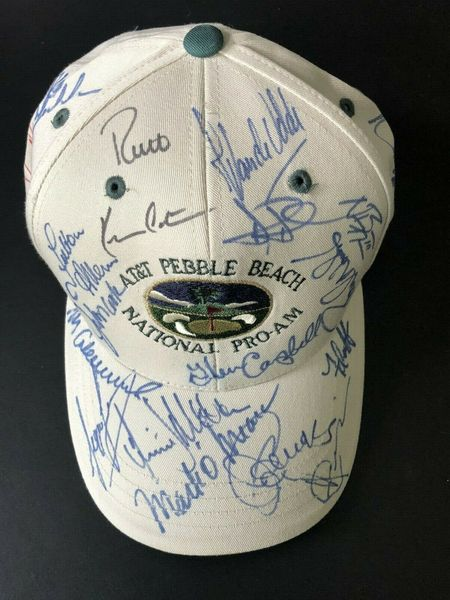 2000 AT&T Pebble Beach National Pro-Am autographed golf cap or hat Tiger Woods Phil Mickelson Glen Campbell Jimmy Connors Kevin Costner