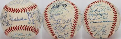 2000 Cincinnati Reds team autographed MLB baseball (Barry Larkin Sean Casey Dmitri Young)