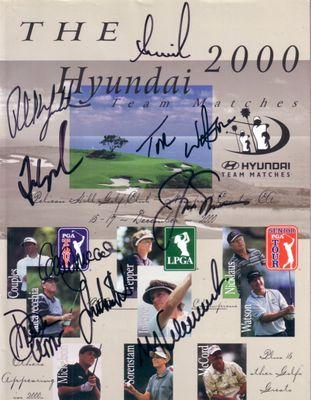 2000 Hyundai autographed golf program Fred Couples Phil Mickelson Jack Nicklaus Annika Sorenstam Tom Watson