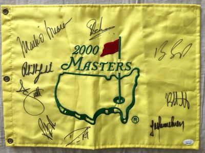 2000 Masters flag autographed by 9 winners Phil Mickelson Patrick Reed Adam Scott Bubba Watson (JSA)