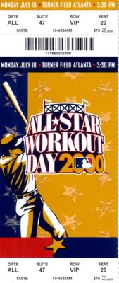2000 MLB All-Star Workout Day and Home Run Derby full unused ticket (Sammy Sosa winner)