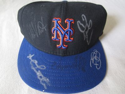 2000 New York Mets autographed game model cap or hat (Edgardo Alfonzo John Franco Al Leiter Robin Ventura)