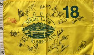 2000 U.S. Women's Open golf pin flag autographed by 17 winners (JoAnne Carner Annika Sorenstam Karrie Webb)