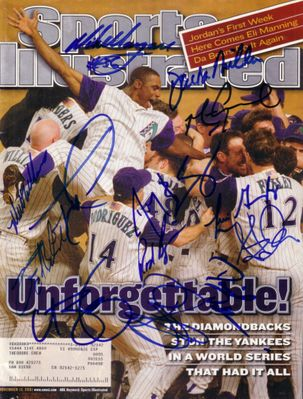 2001 Arizona Diamondbacks team autographed World Series Sports Illustrated Luis Gonzalez Mark Grace Curt Schilling Matt Williams