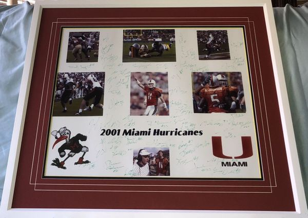 2001 Miami Hurricanes National Championship team autographed 16x20 photo framed Ken Dorsey Frank Gore Andre Johnson Clinton Portis Antrel Rolle