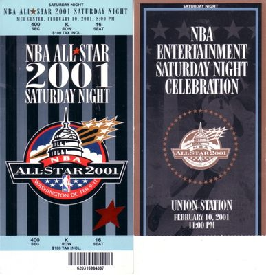 2001 NBA All-Star Saturday Night and Celebration tickets and Slam Dunk Contest scoring signs