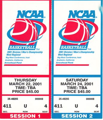 2001 NCAA Tournament West Regional Semifinals and Final ticket stubs (Maryland advances to Final 4)
