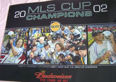 2002 Los Angeles Galaxy Team autographed MLS Champions poster Cobi Jones Alexi Lalas Carlos Ruiz