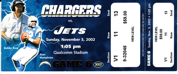 2002 New York Jets at San Diego Chargers full unused game ticket