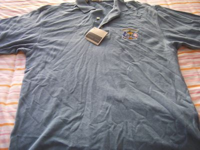 2002 Ryder Cup Cutter & Buck blue golf shirt MEDIUM NEW