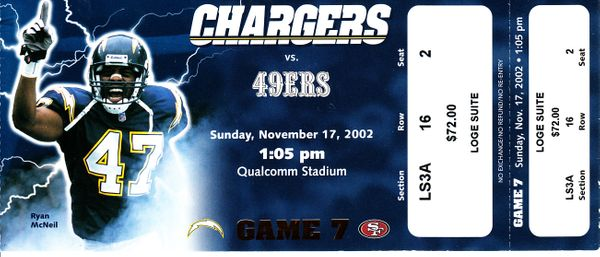 2002 San Diego Chargers vs San Francisco 49ers full unused game ticket (Drew Brees sets career high passing game)