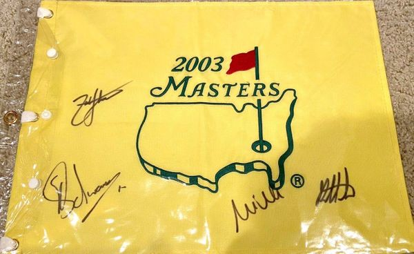 2003 Masters flag autographed by Mike Weir Bubba Watson Zach Johnson Charl Schwartzel