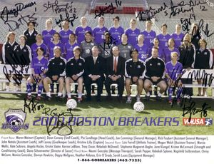 2003 WUSA Boston Breakers team autographed photo (Angela Hucles Kristine Lilly Maren Meinert Kate Sobrero)