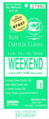 2004 Bob Hope Chrysler Classic PGA Tour golf ticket (Phil Mickelson PGA Tour Win #22)