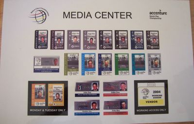2004 WGC Accenture Match Play Championship Media Center credential sign (Tiger Woods)