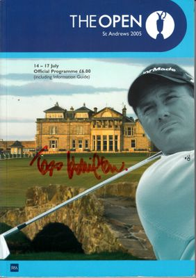 2005 British Open golf program autographed by 13 (John Daly Sergio Garcia Padraig Harrington Mark O'Meara)