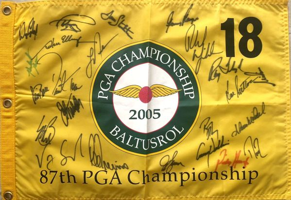 2005 PGA Championship golf pin flag autographed by 23 winners Phil Mickelson Paul Azinger Ray Floyd Gary Player Lee Trevino