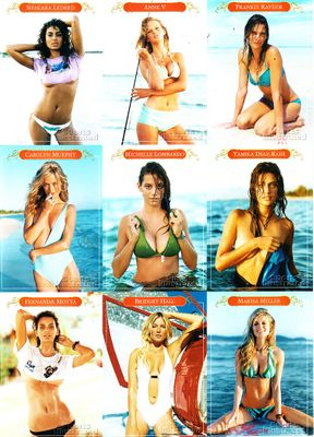2005 Sports Illustrated swimsuit issue promo card sheet (Yamila Diaz-Rahi Bridget Hall Marisa Miller Carolyn Murphy)