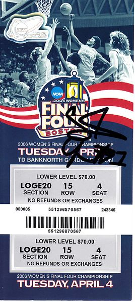 Crystal Langhorne autographed 2006 NCAA Women's Basketball Final Four Championship Game ticket (Maryland wins)