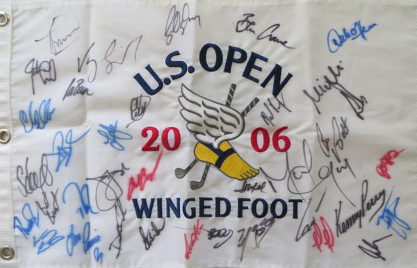 2006 US Open embroidered golf pin flag autographed by 36 (Geoff Ogilvy Ernie Els Jim Furyk)