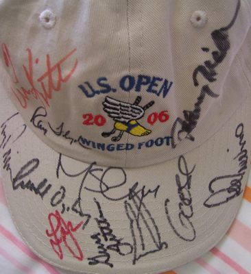2006 US Open Winged Foot golf cap or hat autographed by 12 winners Ernie Els Ray Floyd Retief Goosen Johnny Miller Geoff Ogilvy Lee Trevino