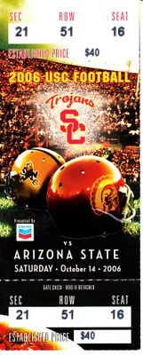 2006 USC Trojans vs. Arizona State Sun Devils college football ticket stub