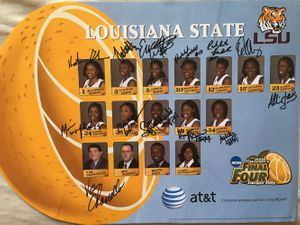 2007-08 LSU Tigers Women's Basketball NCAA Final Four Team autographed poster (Van Chancellor Sylvia Fowles)